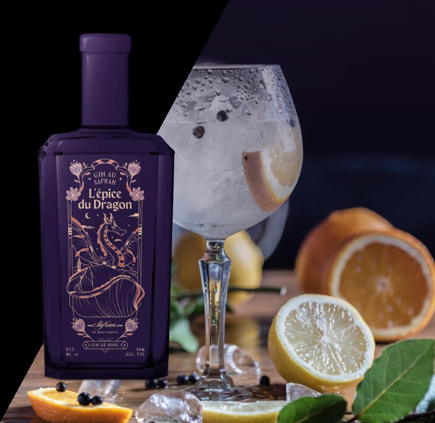 bouteille de l'Épice du dragon et verre de gin